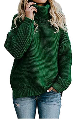 Cayuan Mujeres Suelto Suéter Jerséis de Cuello Alto Manga Largo Cálido Prendas de Punto Pullover Jerseys Tops Otoño Invierno