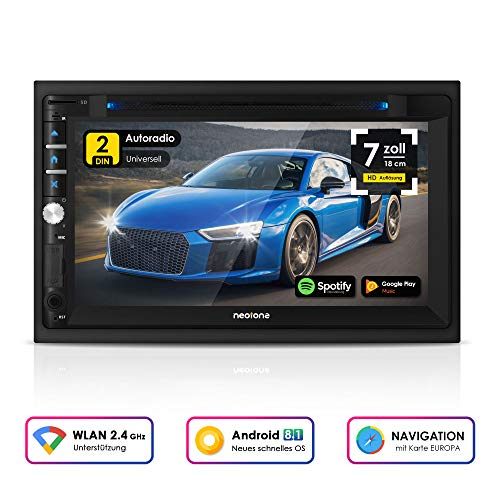 NEOTONE NDX-360A | 2DIN autoradio | GPS-navigatie met kaarten van Europa | DAB+ ondersteuning | 7 inch | USB l SDHC | Full HD | 16GB microSD incl | WLAN | Bluetooth | MirrorLink | OBD 2 | RDS | Android