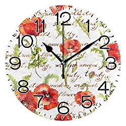 Promini Vintage Floral Poppy Flowers with Lettersoo Wooden Wall Clock 15Inch Silent Battery Operated Non Ticking Wall Clock Vintage Wall Decor for Kitchen, Living Room, Bedroom, School, or Office