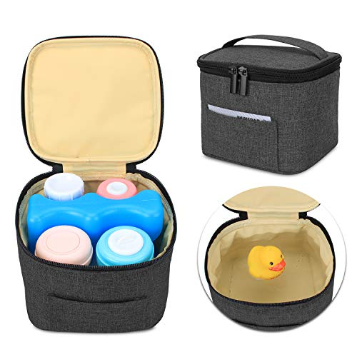 Luxja bolsa termica para leche materna y biberón (Sostenga 4 Botellas de Leche Materna, 150 ml), bolsa para transporté biberones de leche (Solo bolsa), Negro