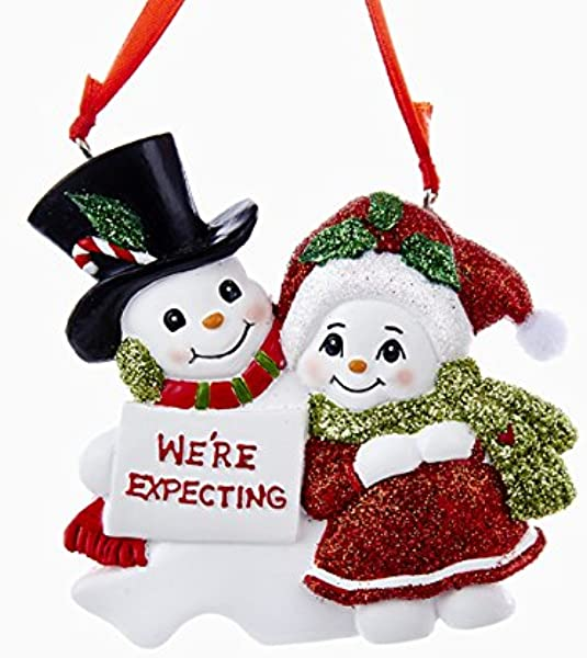 Kurt Adler Snowcouple We Re Expecting Resin Family Ornament