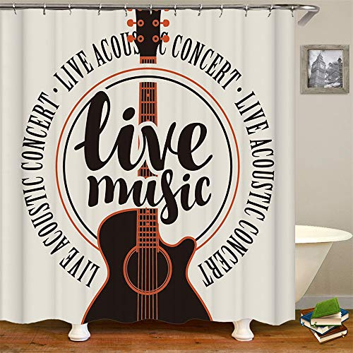 geen merk badkamer gordijn live muziek vintage gitaar live akoestische concert badkamer decor accessoires bad gordijn met haken