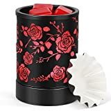 ROVO 7 Color Changed Light Wax Warmer, Candle Wax Burner, Fragrance Warmer, Night Light with Metal Rose Pattern, Idea for Home Office Décor Gifts for Holiday