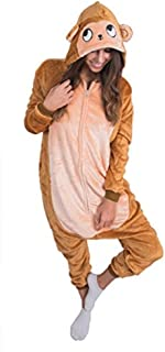 Adult Onesie Monkey Animal Pajamas Comfortable Costume with Zipper and Pockets