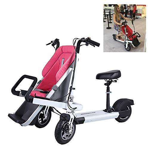 FLy Passeggino Pieghevole per Triciclo Triciclo Pieghevole per Adulti Elettrico Triciclo A Due Posti Staccabile Telaio in Lega di Alluminio con Resistente agli Urti Adulto Unisex,Rosso