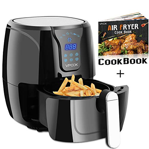 VPCOK Electric Air Fryer Oil Free, Hot Air Fryer Oven Recipe Included, 3.8 QT 6 Presets LED Touch Panel