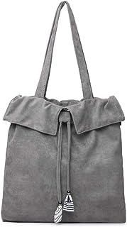 Howoo Damen Große Cord Kordelzug Schultertasche Lässige Handtasche Mode Einkaufstasche grau