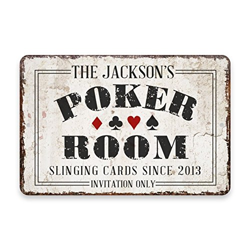 Pattern Pop Personalized Vintage Distressed Look Poker Room Metal Room Sign