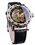 Winner Retro Manual Mechanical Skeleton Watch with Diamond and Carving Flower Craft Men Skeleton Wrist Watch Mechanical Classic Roman Number