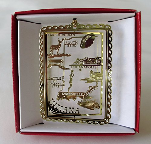 Nations Treasures Indiana Christmas ORNAMENT State Travel Souvenir Gift