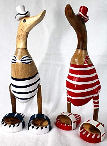 Deko Enten Paar mit Badeanzug 27 cm Holz Handarbeit