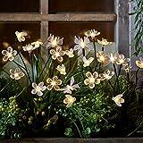 Lights4fun Conjunto de 5 Estacas Solares Abejas, Mariposas y Flores con LED Blancos Cálidos para Jardín