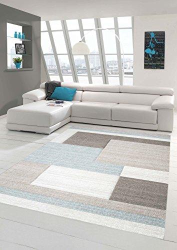 Traum Teppich Designerteppich Moderner Teppich Wohnzimmerteppich Kurzflor Teppich mit Konturenschnitt Karo Muster Pastellfarben Grau Beige Blau, Größe 120x170 cm