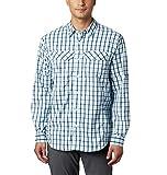 Columbia Silver Ridge Lite Camisa de Manga Larga para Hombre, Secado rápido, protección Solar, Silver Ridge Lite Plaid™, Hombre, 1711581, Collegiate Navy Gingham, S