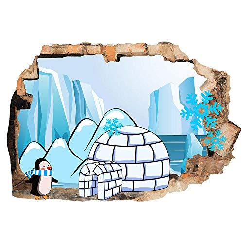 Penguin Igloo Ice and Snow Pegatinas de pared para niños Dormitorio 3D Pegatinas de vinilo para habitación infantil Sala de estar