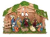 LD Weihnachten Deko Weihnachtskrippe 10 teilig Krippenstall Holz Krippe Figuren Bethlehem Heilige (Lieferzeit ist 3-7 Tagen)