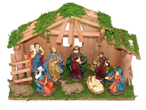 SSITG kerststal 10-delig kerststal houten kerststal figuren Bethlehem heilige (levertijd is 3-7 dagen)