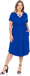 Women's Midi Dress with Pockets and Elastic Waist in Plus Size