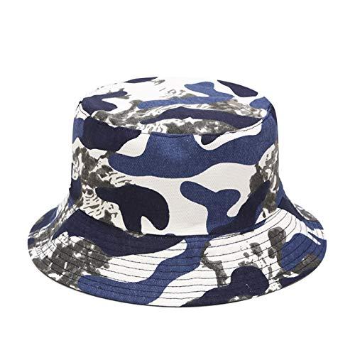 Mashiaoyi Unisex Print Double-Side-Wear Reversible Bucket Hat Blue Camouflage