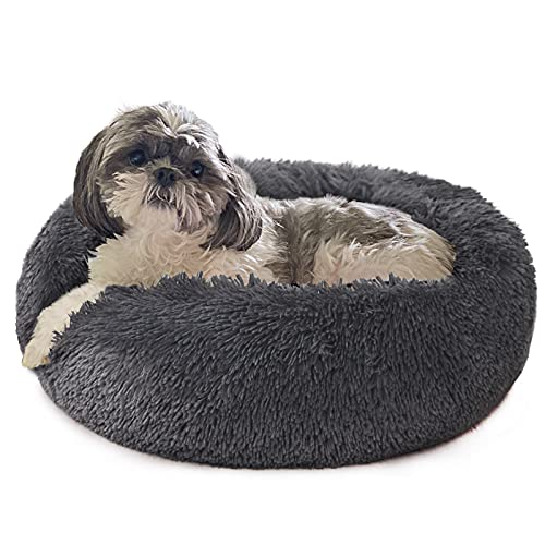 Puppy Bed for Calming Dog 23 Inches Dark Gray Anti-Anxiety Donut Dog Bed for Small Medium Dogs Washable Fuzzy Dog Bed Fits up to 15 lbs Pets Beds for Small Dog