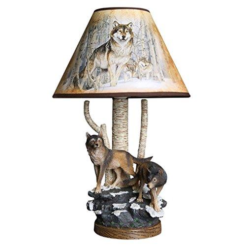 GYDD Tischlampe Tier Dekorative Harz Wald Wolf Kunst Einstellbare Licht Kreative Handgemachte Beleuchtung für Wohnzimmer/Studie / Schlafzimmer/Nachttischlampe (Farbe : Dimm-Schalter)