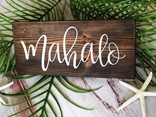 qidushop Holzschild Mahalo Schild Hochzeitsschild Hawaii rustikales Schild Foto Requisite Dankeskarten Strand Hochzeit Schild Handbeschriftung Kabine Wand Dekoration Einweihungsgeschenk