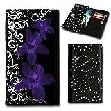 Strass Book Style Flip Handy Tasche Hülle Schutz Hülle Foto Schale Motiv Etui für Medion Life E5001 - Flip SU5 Design6