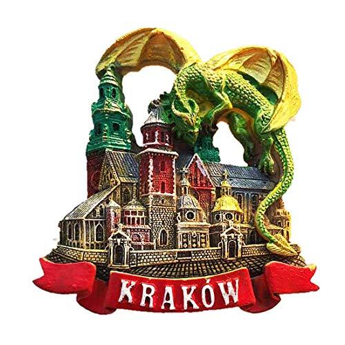 Grüner Drache Krakau Polen des Kühlschrankmagneten 3D, Ausgangs- und Küchendekoration magnetischer Aufkleber touristisches Andenkengeschenk