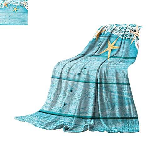 Mantas personalizadas de decoración náutica, tablas de madera rústica, red de pesca y animales del océano, mantas suaves y ligeras para sofá cama, 60 pulgadas x 39 pulgadas, turquesa, blanco, naranja
