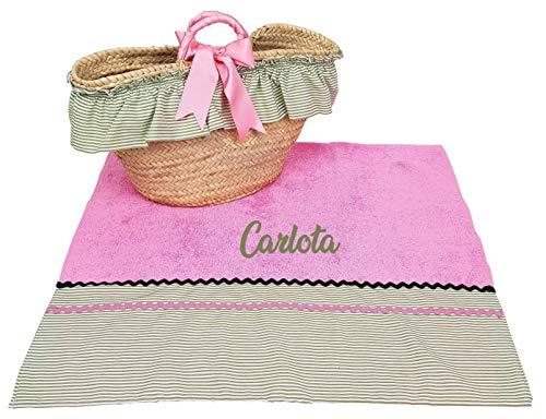 Conjunto Capazo Mimbre y Toalla de Playa para niña (Rosa/Verde, 2 Piezas Personalizado) ✅