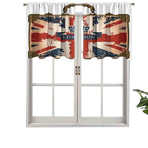 Hiiiman Short Curtains Valance Privacy Protection Vintage Travel Suitcase with British Flag London Ribbon, Set of 2, 54'x24' Window Drapes for Bathroom Kitchen Living Room