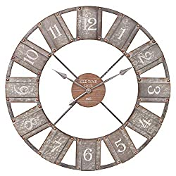 36 Galvanized Metal and Wood Windmill Clock