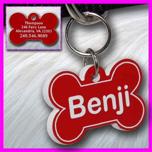Personalized Custom Engraved Plastic Pet Dog ID Tag 2-sided Bone Red/White