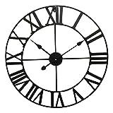Orologio da parete rotondo, design retrò, in metallo, con lancette, 60 cm, colore: nero