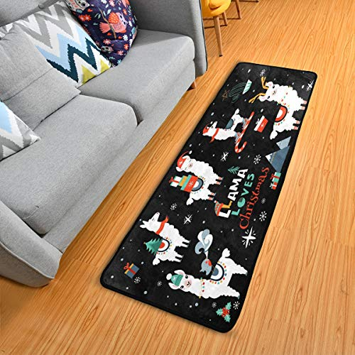 ALAZA Christmas Alpaca Llama Snowflake Winter Black Collection Area Mat Rug Rugs for Living Room Bedroom Kitchen 2' x 6'