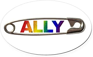 CafePress Safety Pin Ally LGBTQ Oval Car Magnet, Euro Oval Magnetic Bumper Sticker