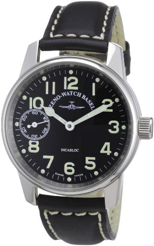 Zeno Watch Basel 6558-9-a1 - Reloj analógico Manual Unisex con Correa de Piel, Color Negro