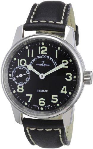 Zeno Watch Basel Unisex-Armbanduhr Classic Pilot Analog Handaufzug Leder 6558-9-a1