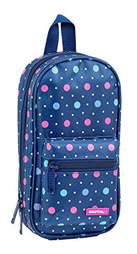 Safta - Plumier Mochila Con 4 Estuches y útiles Dots Blue Oficial, 120x50x230mm