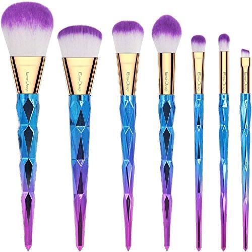 EmaxDesign Pinceaux de maquillage 7 pièces coloré Poignée en forme de diamant à motifs Lot de brosse de maquillage professionnel Fond de teint Mélange Blush Eye visage liquide Poudre crème Pinceaux