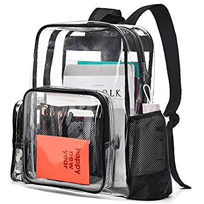 Cambond Clear Backpack, Heavy Duty Transparent Backpacks for Adults with Reinforced Straps See-Through Bag for School Work