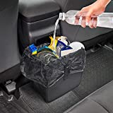 Car Trash Can Bag Bin, Waterproof Hanging Car Garbage Bag Foldable Leakproof Litter Waste Organizer 1.85 Gallon Auto Garbage Container Trashbag Black