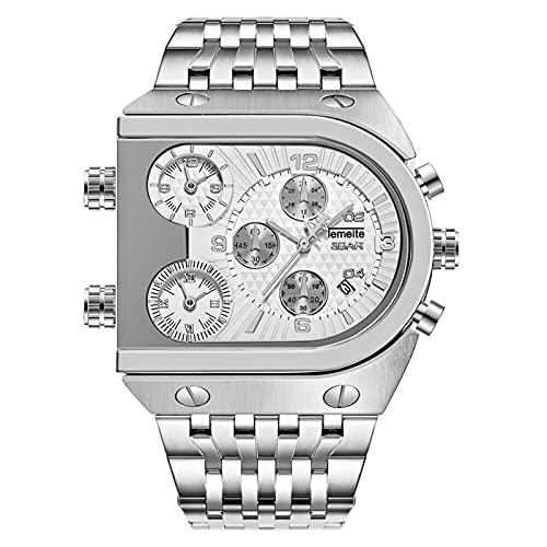 LOEMWJ Quarzuhren Uhr Mode Dreizeitige Fläche Kalender Steel Gürtel Sport Quarz Tisch Männlich Männer Uhr (Color : Silver White Surface)