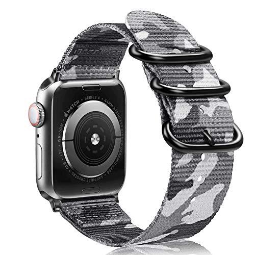 Fintie Armband kompatibel mit Apple Watch SE/Series 6 5 4 3 2 1 44mm 42mm - Premium Nylon atmungsaktive Sport Uhrenarmband verstellbares Ersatzband mit Edelstahlschnallen, Camouflage Grau