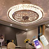 Ceiling Fan with Lamp, Crystal Ceiling Fan with LED Light, 72W Modern LED Dimmable Ceiling Light,Adjustable Wind Speed, with Remote Control,Restaurant Bedroom Decoration Indoor Fan Lighting (A)