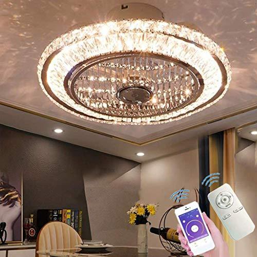 LED Deckenventilator Mit Beleuchtung, Leise Kristall Ventilator Kronleuchte Mit Fernbedienung Dimmen Timing Fan Deckenleuchte, 72W Moderne Fan Deckenlampe Für Kinderzimmer Schlafzimmer Wohnzimmer (A)