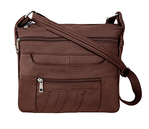 Leather Concealed Carry Crossbody Purse - YKK Locking CCW Ambidextrous Gun Bag Roma 7082, Brown