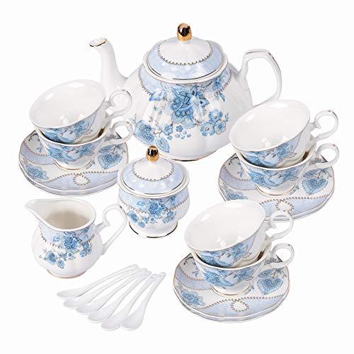fanquare Set da tè in Porcellana con Fiori Blu, Set Tazza da tè e Piattino, Servizio da tè da Sei, Nozze Teiera Zuccheriera Crema Brocca, Servizio da caffè in Cina