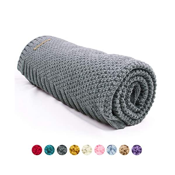 mimixiong Baby Blanket Knit Toddler Blankets for Boys and Girls Grey 40×30 Inch