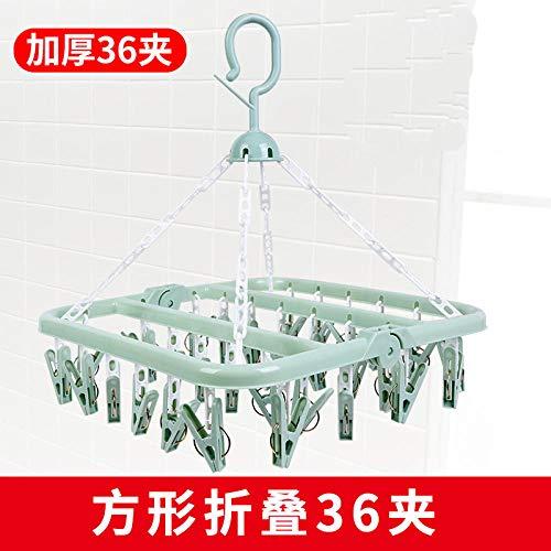 Hanger sokken ondergoed wasrek plastic Magic kinderen multifunctionele opklapbeugel 2-pack groen [Activiteit] _36 clips '''